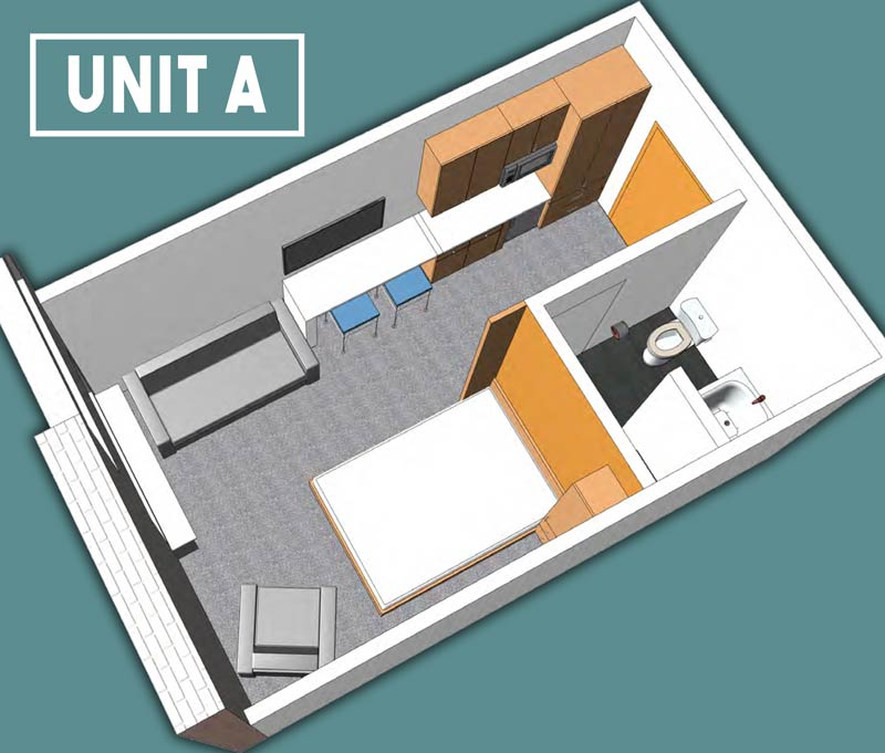 Unit A Floor Plan - 228 Spaces